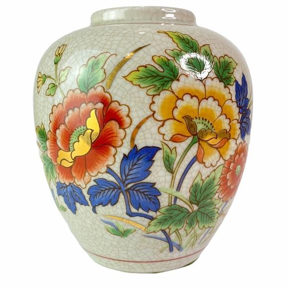 Vintage Gold Trim Floral Japanese Vase White